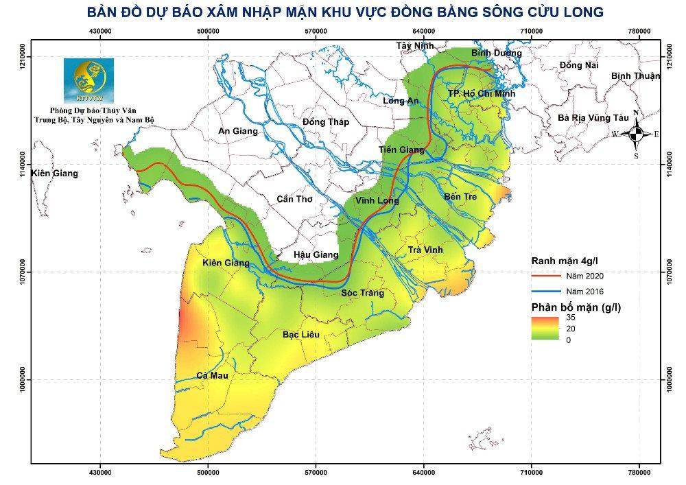 Bản đồ dự báo xâm nhập mặn khu vực ĐBSCL từ ngày 21/3 – 31/3/2020